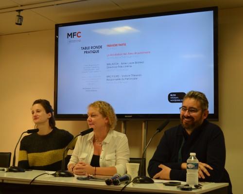 Victoire Thévenin (MK2), Anne-Laure Brénéol (Malavida) et le modérateur Anthony Bobeau. © L'EMPIRE DES IMAGES